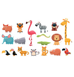 Cartoon collection of funny animals colorful vector