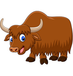 cartoon happy yak vector image