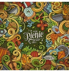 Cartoon picnic doodle frame vector