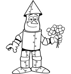 Cartoon tin man holding flowers vector image
