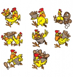 chicken poses vector image