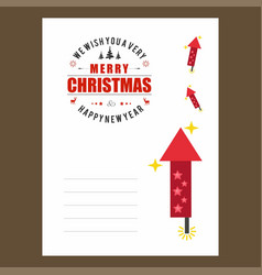 Chrismtas card with fireworks design and stars vector