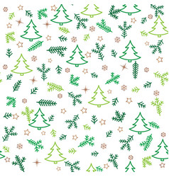 christmas icon seamless pattern new year tree vector image