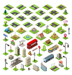 City Map Set 01 Tiles Isometric vector image