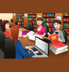 College students studying in a library vector