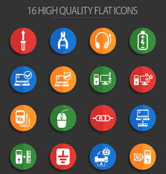 Computer repair 16 flat icons vector