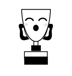 Contour kawaii cute funny prize cup vector