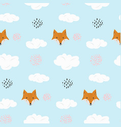 cute cartoon pattern with fox and dots in clouds vector image
