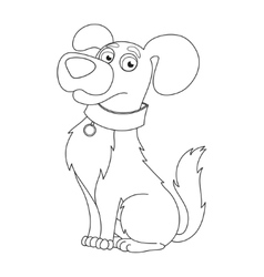Cute dog coloring book page for children vector