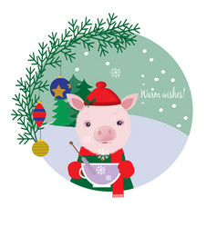cute pig in a cap drinking tea winter card vector image