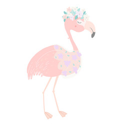 cute pink flamingo with flower veil and flower vector image