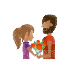 Drawing romantic couple with flowers vector