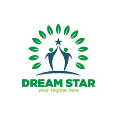 dream star logo designs tree vector image