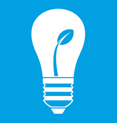 Ecology idea bulb with plant icon white vector