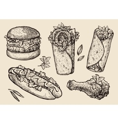 Fast food Hand drawn hamburger burger pizza vector