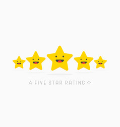 five golden rating star wiyh cute smile face in vector image