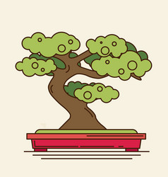 Flat icon of bonsai tree vector