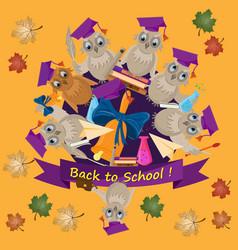 Flat school theme bird owl holding various school vector