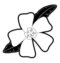 Flower with leaves vector