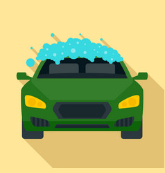 Foam wash car icon flat style vector