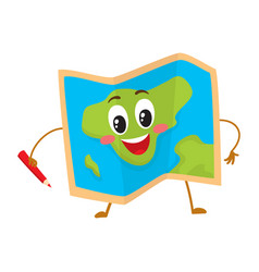 folding geographical map funny character with a vector image