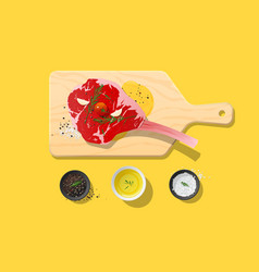 Fresh raw beef tomahawk steak and spices vector