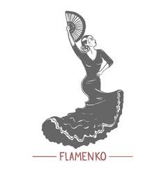 girl dancing flamenko in graphic hand-drawn style vector image
