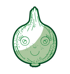 Green silhouette of onion caricature in closeup vector