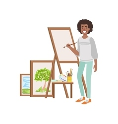 Guy Painting Landscapes Creative Person vector