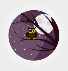 halloween owl with large eyes sitting on a branch vector image