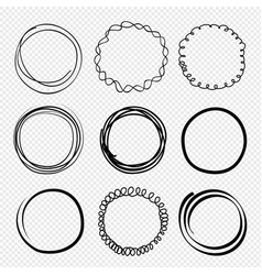 hand drawn circles sketched scribble rings vector image