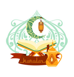 holy book of quran with lamp ramadan greeting vector image