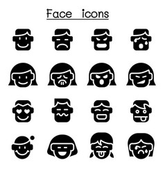 human face icon set vector image