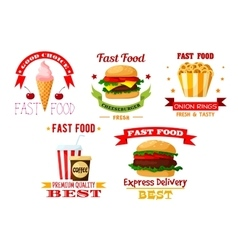 Icons set of greasy and unhealthy fast food vector