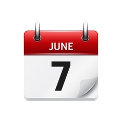 June 7 flat daily calendar icon Date and vector image