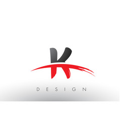 K brush logo letters with red and black swoosh vector