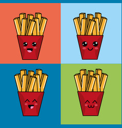 Kawaii set fries potatoes icon with beautiful vector