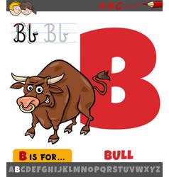 Letter b from alphabet with cartoon bull animal vector