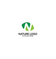 Letter n nature and leaf logo design vector