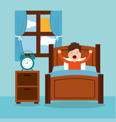 little boy wake up in the morning vector image