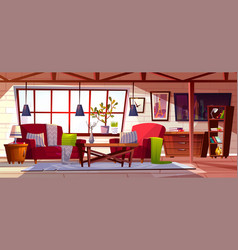 Loft lounge room interior vector