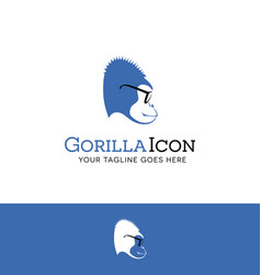 Logo design of a blue gorilla wearing glasses vector