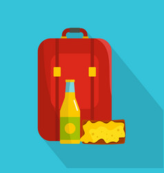Lunch in backpack icon flat style vector