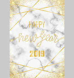 luxury golden glitter happy new year 2019 vector image
