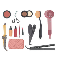 make-up artist kit hair styling accessories set vector image