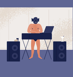 Male dj in angry monster mask and naked torso vector