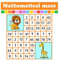 mathematical rectangle maze lion and giraffe game vector image