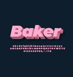 Modern alphabet 3d soft pink bold text effect vector