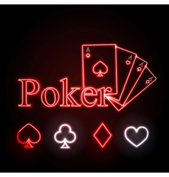neon sign Poker vector image