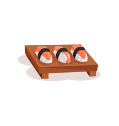 nigiri sushi with shrimp and salmon on wooden vector image